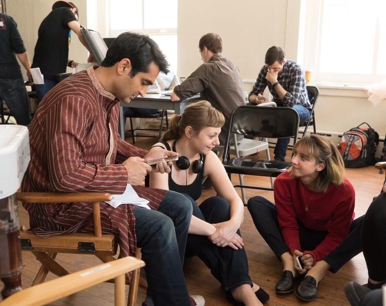 From L to R: Kumail Nanjiani, Writer Emily V. Gordon and Zoe Kazan on the set of THE BIG SICK. Photo by Nicole Rivelli.