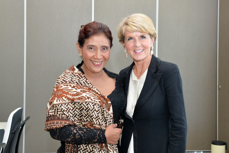 Susi Pudjiastuti and Australia's Minister of Foreign Affairs, Julie Bishop
