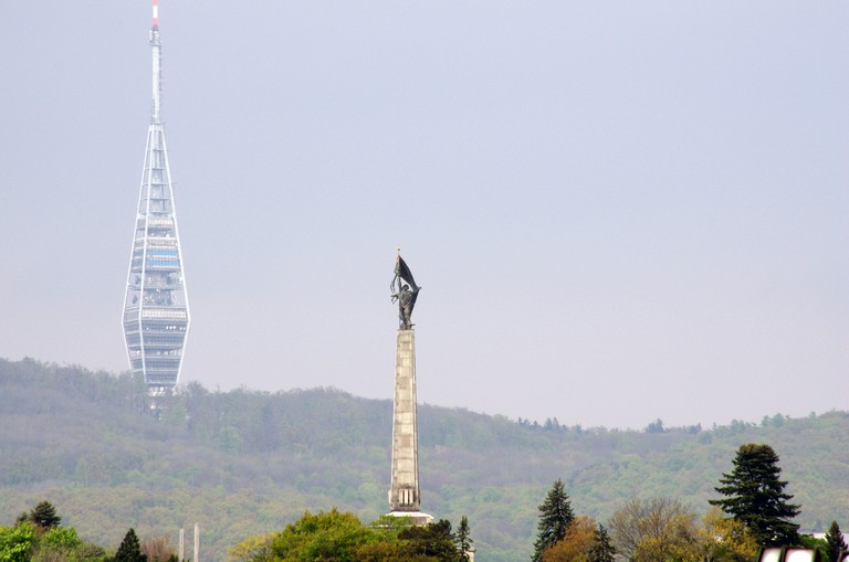 The Kazmik TV Tower sits high on a hill overlooking the city I