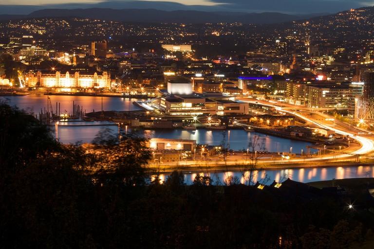 Night view of Oslo from Ekeberg