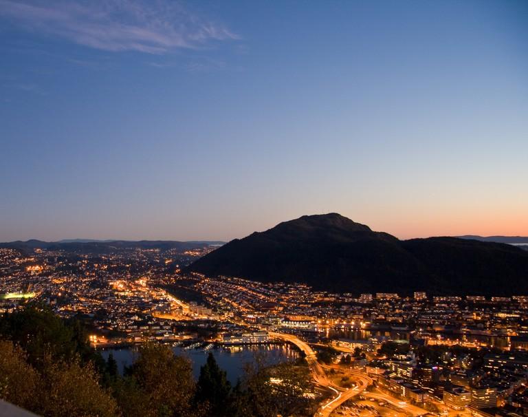 A Bergen mountain seen from Fløyen