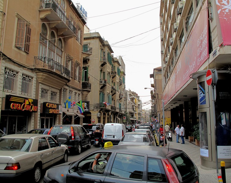 Gemmayzeh, Beirut shows the difference between old architecture and contemporary life