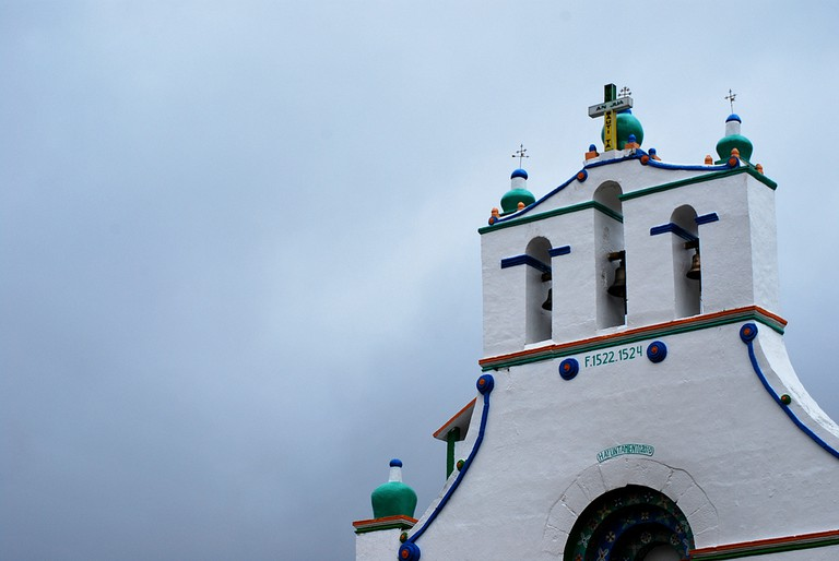 The top of the famed San Juan Chamula church