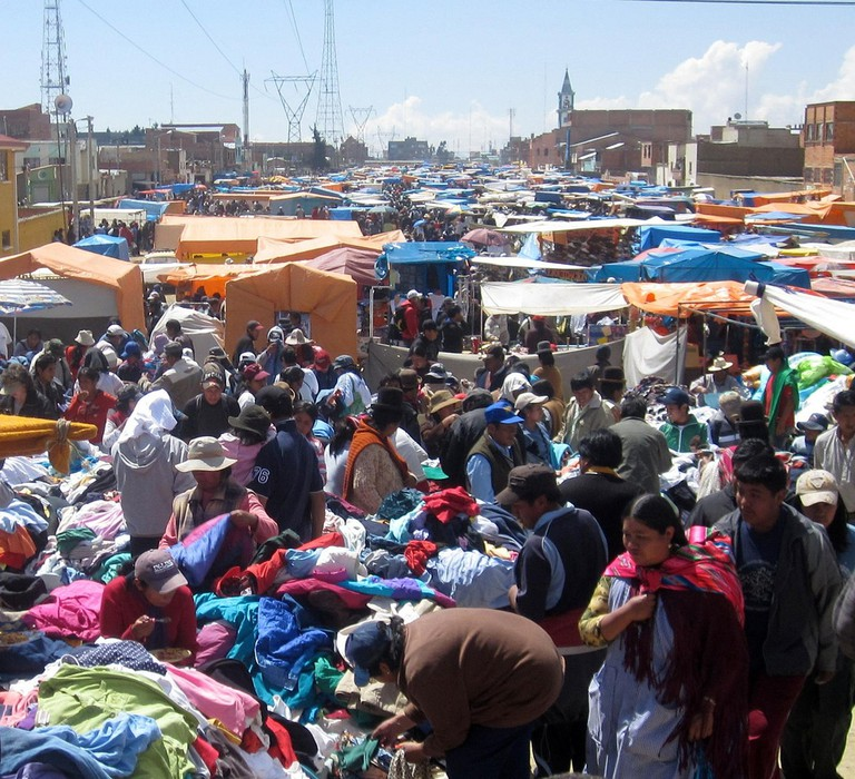 Shopping for designer goods at El Alto Market