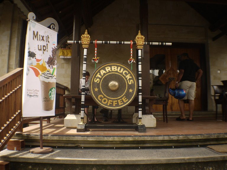 Starbucks in Bali, Indonesia, with localized decor