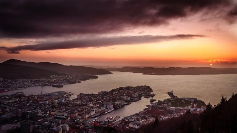 Bergen sunset seen from Fløyen