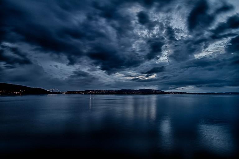 Bergen's sea on a stormy night