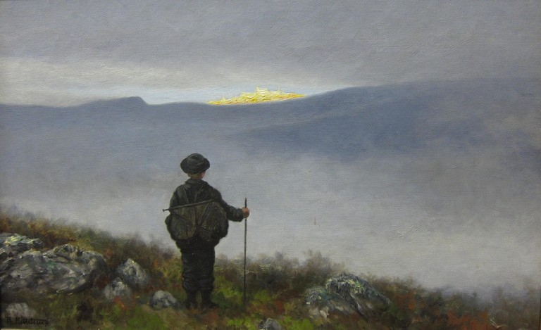 Famous national romantic painting by Theodor Kittelsen of the Soria Moria Castle fairy tale
