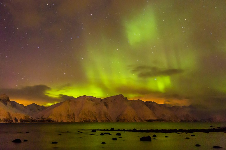 Northern lights by Lyngen Fjord, northern Norway