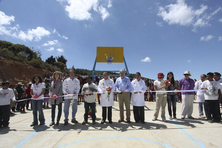 Inauguration of a basketball court in Oaxaca