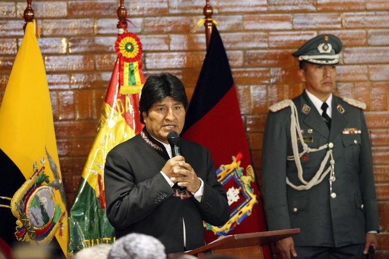Evo Morales giving a speech