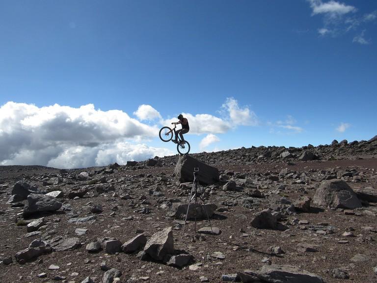 Biking on the slopes of Chimborazo