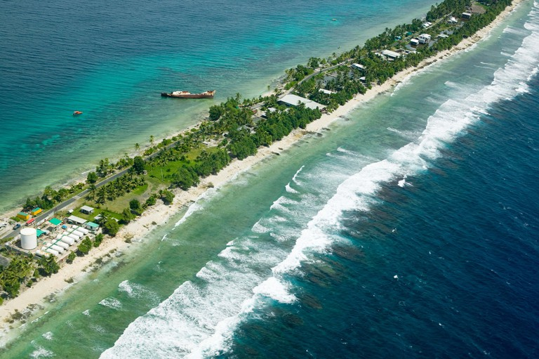 Funafuti atol on Tuvalu form the air threatened by global warming induced sea level rise