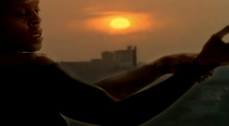 A composite photo of Okpokwasili and The Bronx in the film