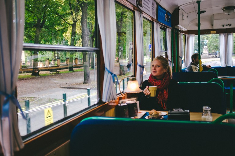Enjoy a fika on the Cafe Tram