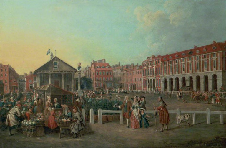 Balthasar Nebot, Covent Garden Market and St Paul's Church, London, c1737