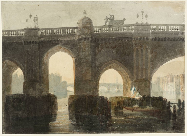 Joseph Mallord William Turner, Old London Bridge, c1794. Accepted by the nation as part of the Turner Bequest 1856