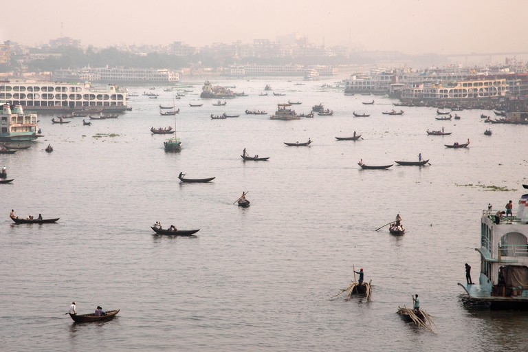 Sadarghat harbor - Dhaka, Bangladesh - landscape with boats