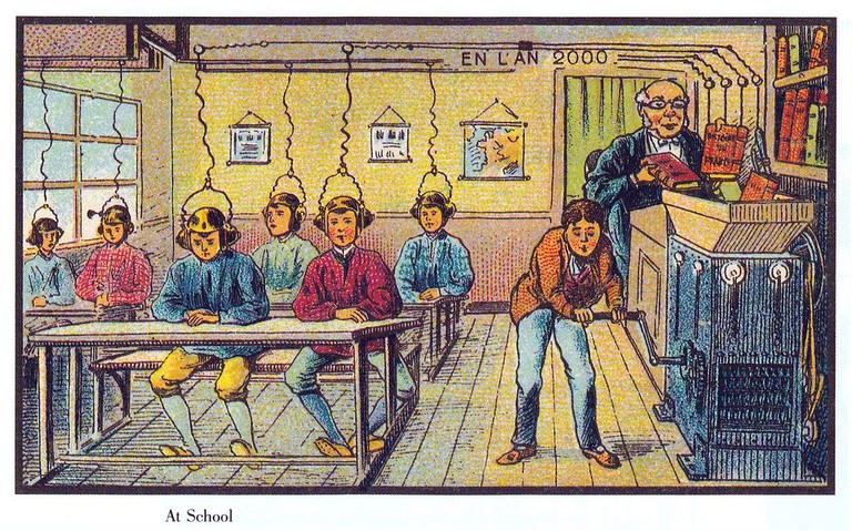 France in the year 2000 – Future school │© Jean-Marc Côté (if 1901) or Villemard (if 1910) / Wikimedia Commons