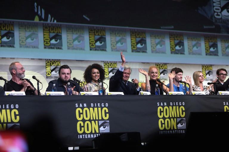 """Game of Thrones"" cast members Liam Cunningham, John Bradley, Nathalie Emmanuel, Conleth Hill, Sophie Turner, Iwan Rheon, Faye Marsay and Isaac Hempstead Wright"