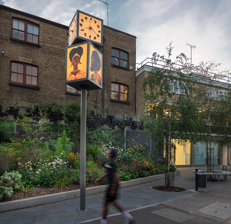 Chris Ofili 'Black Hands' clock with PEER gallery in the background © Chris Dorley-Brown