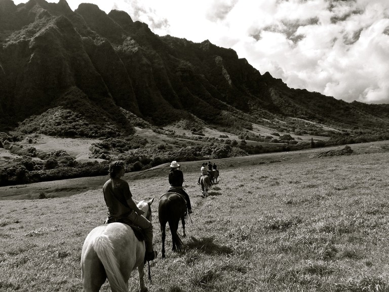 Touring Kaʻaʻawa Valley on horseback