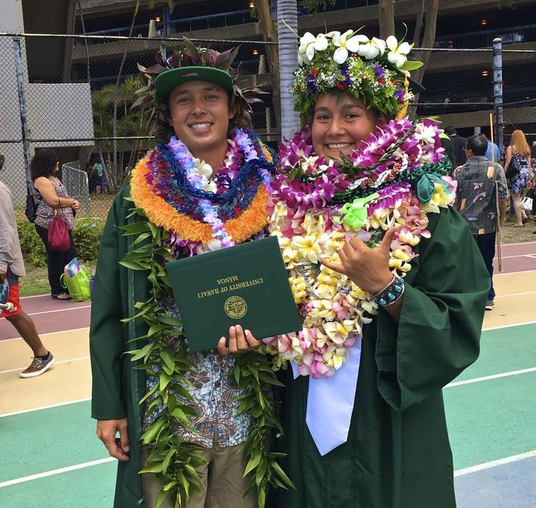 Traditional Hawaiian Lei ceremony after graduation