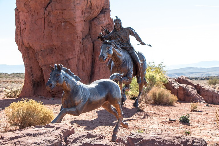 Native American bronze statues