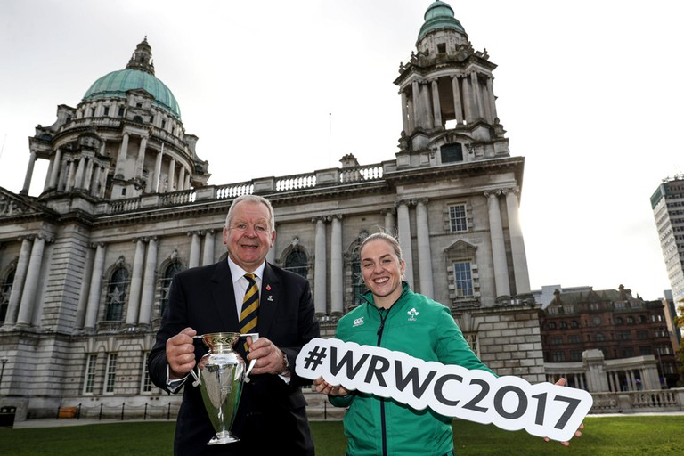 World Rugby Chairman Bill Beaumont and Ireland captain Niamh Briggs ahead of the Women's Rugby World Cup 2017 pool allocation draw in Belfast on 9 November 2016