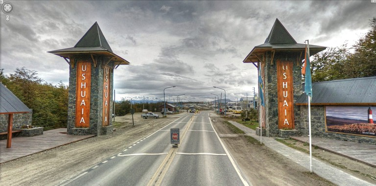 An ominous welcome—the entrance to Ushuaia