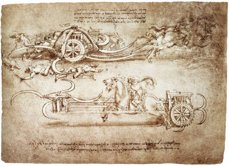 Assault chariot with scythes by Da Vinci