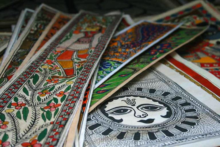 Madhubani paintings on display in an art shop