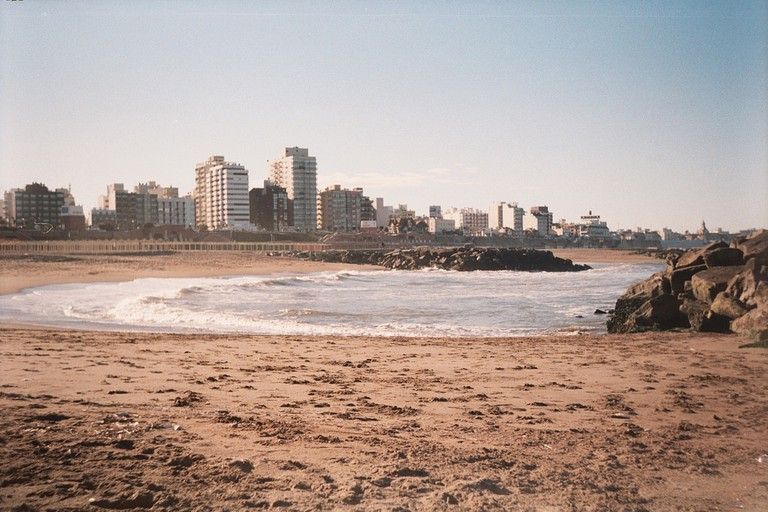 The city skyline against the beach in Mar Del Plata