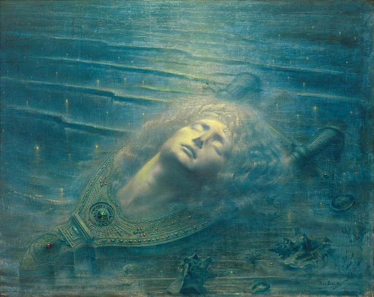 Jean Delville, The Death of Orpheus (Orphée mort), 1893. Royal Museums of Fine Arts, Belgium | © 2017 Artists Rights Society (ARS), New York/SABAM, Brussels Photo: © Royal Museums of Fine Arts, Belgium, Brussels: J. Geleyns-Ro scan.
