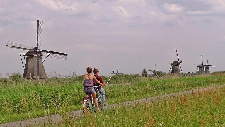 Cyclists in Kinderdijk