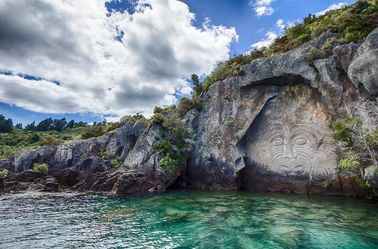 Mine Bay Maori Carvings, Lake Taupo