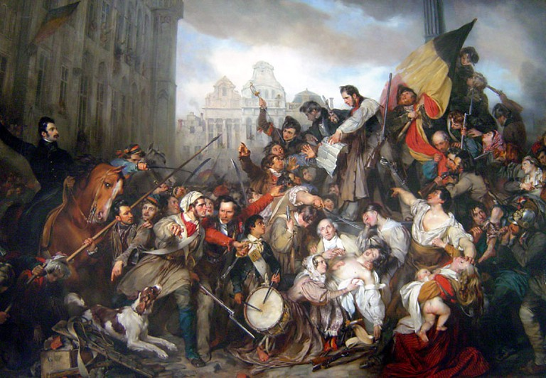 An oil painting depicting the battle for independence in Brussels by Gustaf Wappers, showing a large Belgian flag in the hands of the revolutionaries | public domain
