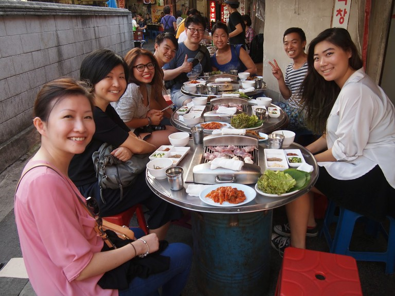 Trying Korean BBQ on O'ngo Food Communications' Night Dining Tour