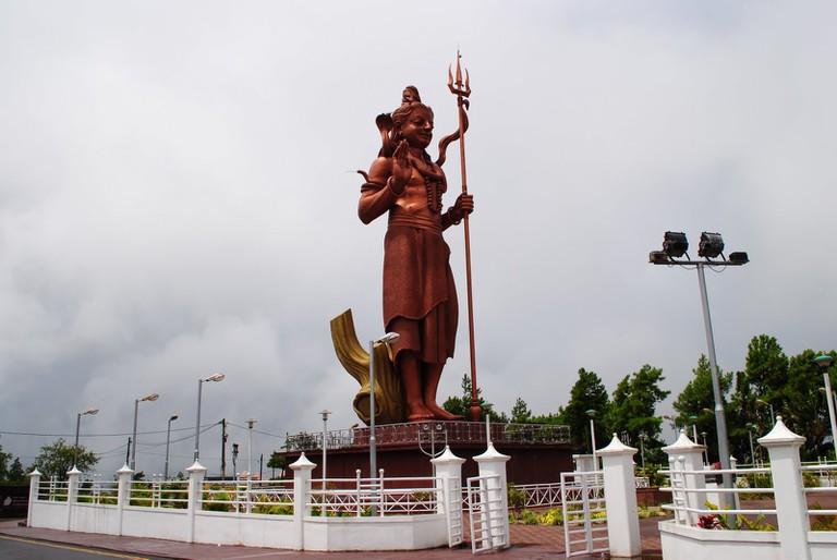 A view of the Mangal Mahadev Statue (Lord Shiva) at Grand Bassin where every year, more than 500,000 people walk during Maha Shivratri