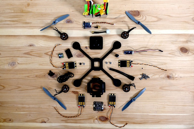 The drone disassembled