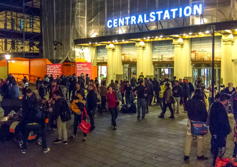Refugees arriving at Stockholm's Central Station find assistance / Photo courtesy of Wikipedia Commons