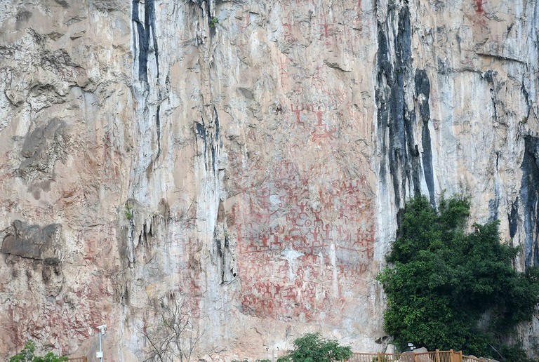 Rock paintings on the Huashan Mountain by the Zuojiang River