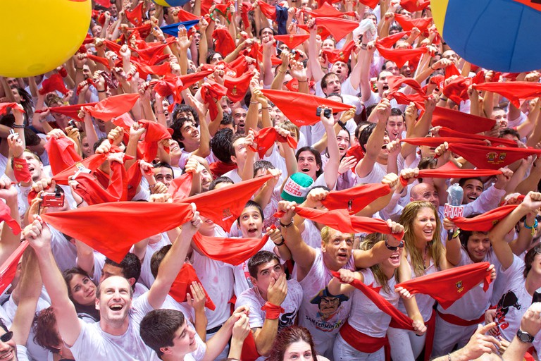San Fermies in the famous red-and-white uniform during the fiesta's opening cermony; Migel, shutterstock