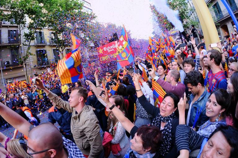 Barcelona fans line the streets of La Rambla | © Christian Bertrand/Shutterstock
