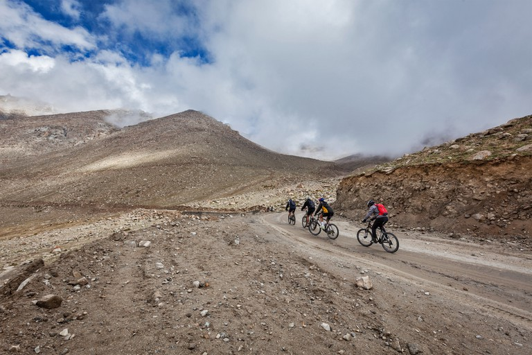 The road to Khardung La, not a ride for amateur cyclists