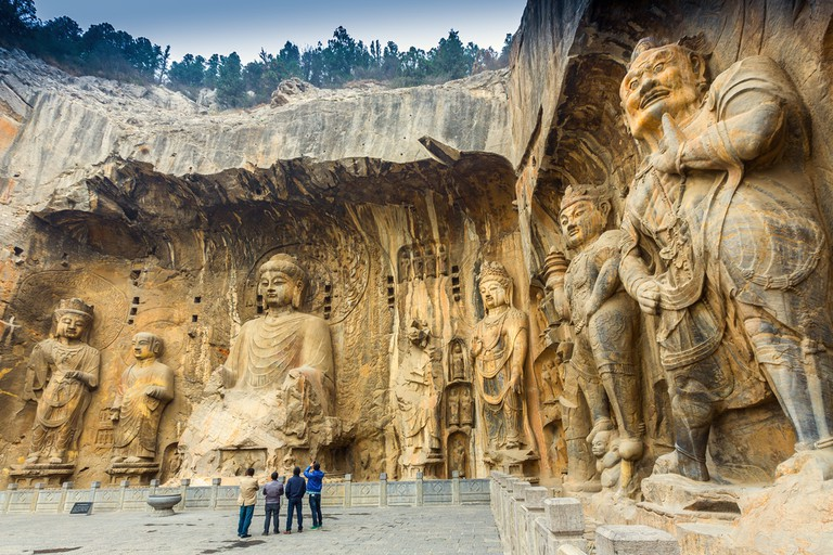 Longmen Grottoes with Buddha's figures. One of the four notable grottoes in China