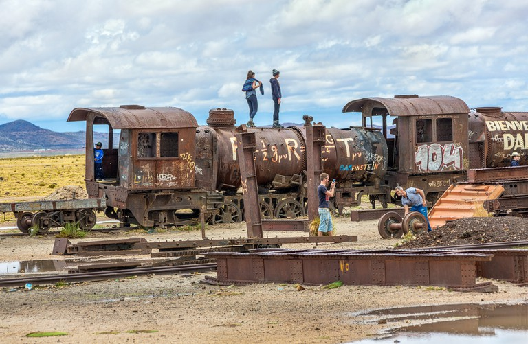 Train with graffiti