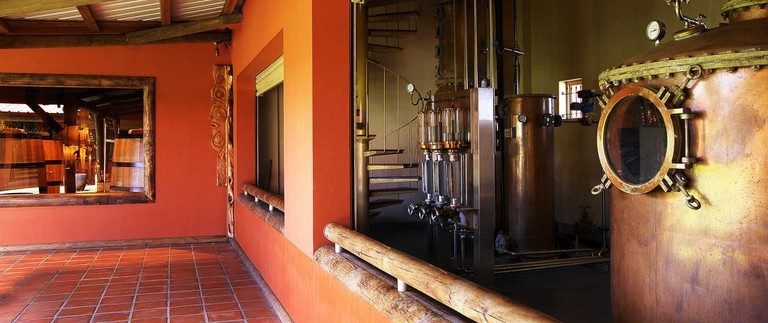 An inside view of the distillery