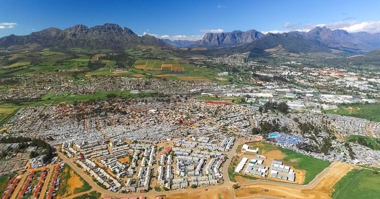 Aerial view of Kayamandi and Stellenbosch