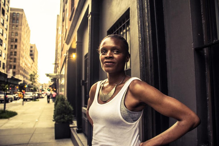 Okwui Okpokwasili on West Houston Street just before the New York premiere of Bronx Gothic at Film Forum, July 12, 2017